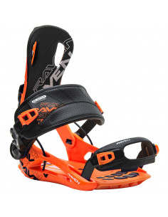 Fixations de snowboard Systeme Flow Raven FT270 Black Orange Taille L(43 à 46) Accueil
